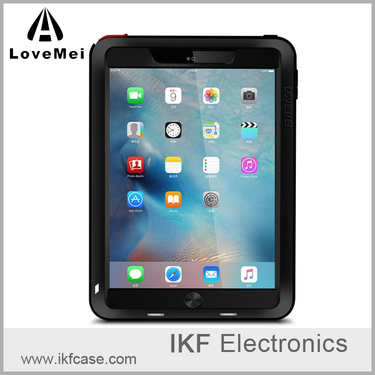 Love Mei Shockproof Waterproof Hybrid Powerful Case Cover For iPad Pro 9.7 Temperd Glass Screen Protector