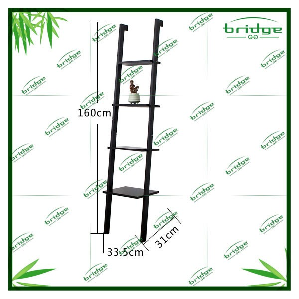SoBuy Modern Wood Leaning Ladder Book / Magazine Shelf with Three Floors, Wall Shelf, Bookcase