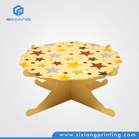 Yellow Three Tiers Advertising Cardboard Paper Cupcake Stand