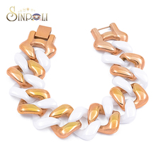 Fashion White Crown Ceramic Bracelet Chain Greek Gold Plated Jewelry