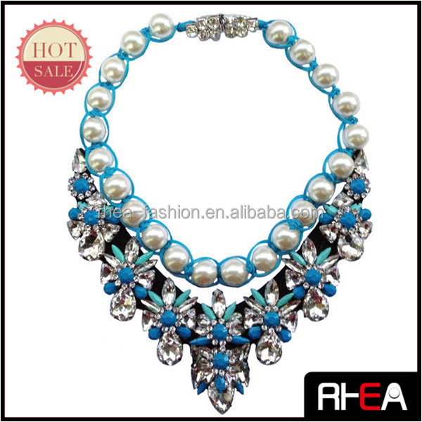 Fashion Pearl Beaded Chain Blue Rope Full Crystal Shourouk Collar Necklace