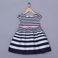 Fashionable Girl Stripe Dress Infant Party Wear Princess Black And White Stripe Dress For Baby Summer GD50420-5
