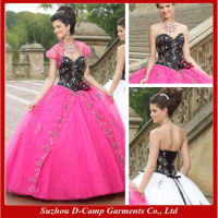QU-059 Stunning ball gown corset top bodice two tone wedding dress hot pink and black wedding dress
