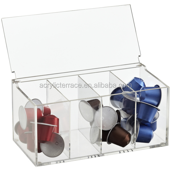 Acrylic teabag coffee Capsule storage box