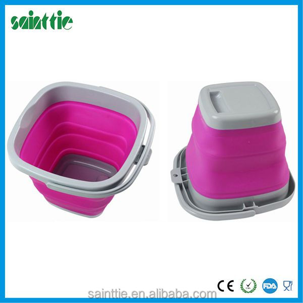 10L squeeze bucket,silicone collapsible bucket, square bucket