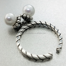 Mysterious 925 sterling silver movable pearl charm rings