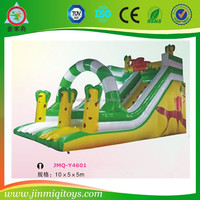2016 High Quality inflatable double lane slip slide/bouncy castle/happy hop bouncy castle