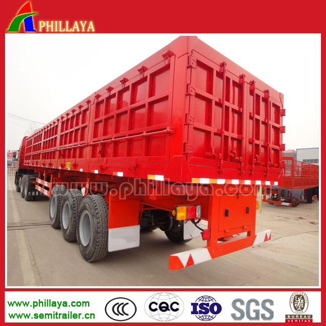 China Hydraulic Cylinder 50 ton tri axle back-tipping trailer for <strong>coal</strong>
