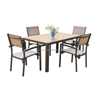 outdoor aluminum garden dining table and Chair Set for 4 people
