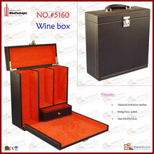 hot press stand leather wine case ,customized new product printed wine box