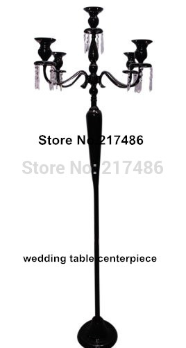 wholesale 5 arm black tall crystal wedding candleabra centerpiece,antique crystal candlestick