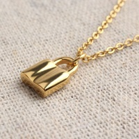 Popular Fashion 18K Gold Plated Key Lock Locket Pendant Necklace Jewelry Girl