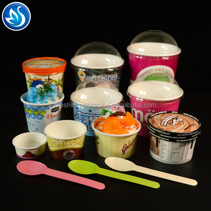 Disposable 6oz and 8oz paper ice cream cup with lid