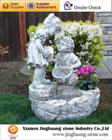 White Garden Marble Water Fountain with Two Little Cute Children Statues
