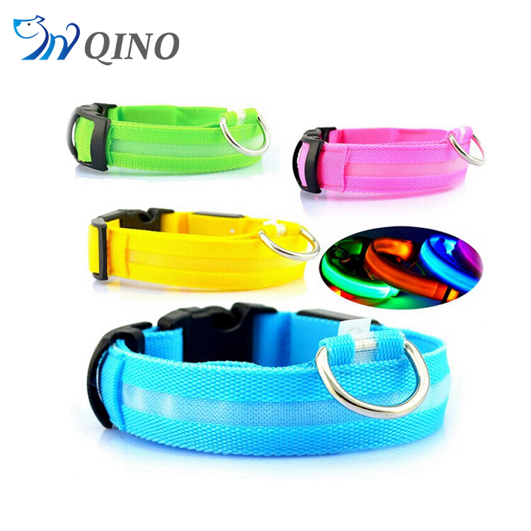 QN-A-4761 wholesale fluorescent tear resistant waterproof pvc led dog collars
