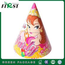 paty paper hat /withe cardboard full color printing papercone party hats