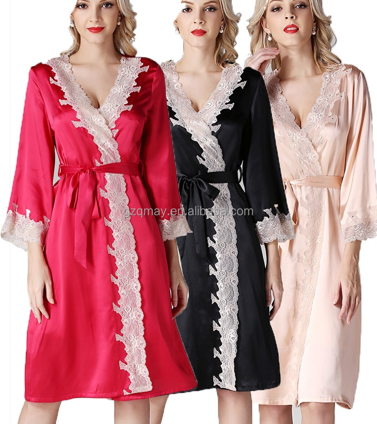 Summer Nighty Pajamas Underwear Clothes Bridal Wedding Dress Transparent Silk Satin Nightwear Fat Girl Adult Women Sexy Pajamas