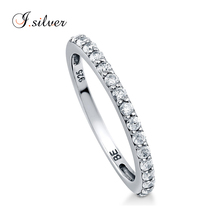 Wholesale bague 925 b sterling silver CZ curve half eternity rings R500194