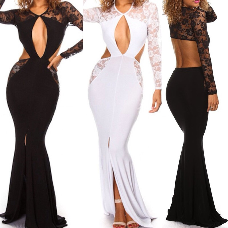 Women sexy night plus size white club party wear long maxi dresses