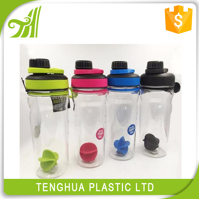 Sport water bottle plastic, gym bottle shaker, bubble tea bottle