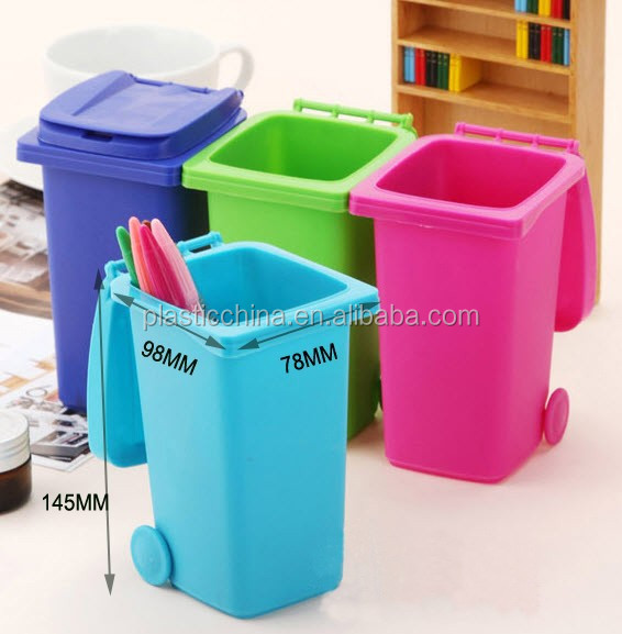 Promotional plastic mini deskside waste bin
