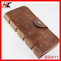 Hot selling China top 10 wallet best brands man leather long wallet cases three folding with snap hunter 8 designs