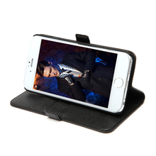mobile phone accessory cowhide black genuine leather folio cover phone case for iPhone 6S with card holder & stand