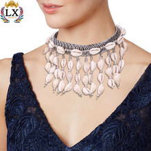NLX-00776 high quality CCB choker necklace jewelry shell beaded dangle necklace cowrie shell necklace