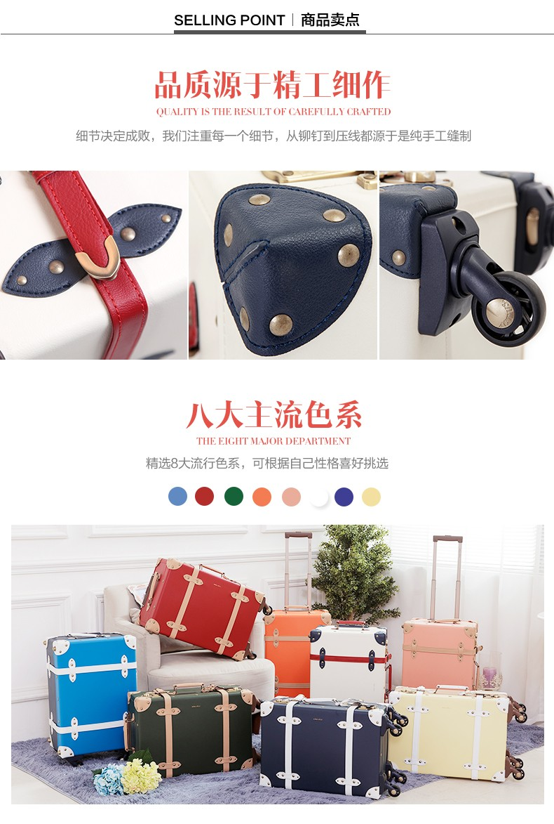 2016 SUPER LIGHT 2.45kg eco-friendly PP+PVC materialvintage luggage