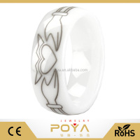 POYA Jewelry Unique Claddagh Ring Solid White Ceramic 8mm Comfort Fit