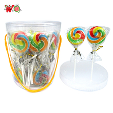 HALAL fruit flavor flat round shape giant swirl lollipop for Christmas