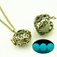 Luminous Punk Heart Flower Hollow Fairy Magical Love Glow In The Dark Necklace Glowing Pendant Gift Jewelry