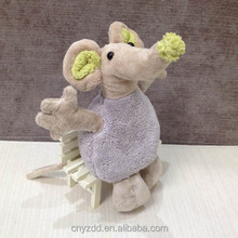 Stuffed Light Purple 19cm Tall Mouse Doll/Plush Cute Animal Toy Mouse with Green Ears/Soft Stuffed Animated Animal Toy Mouse