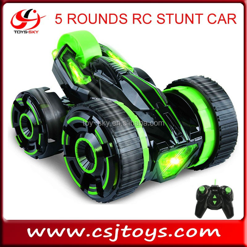kids toys 6 channel 5 rounds remote control stunt car