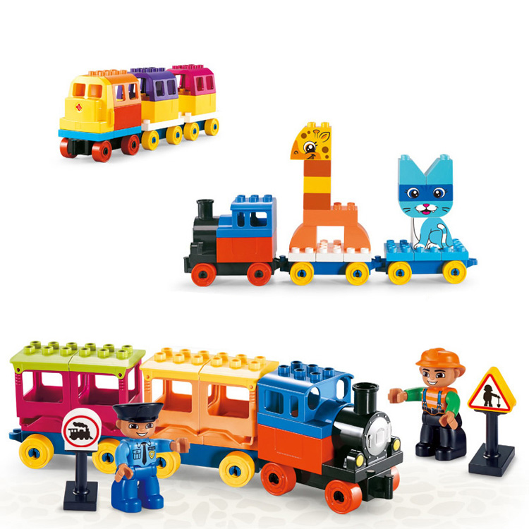Big plastic building blocks for kids train farm house play set easy assemble