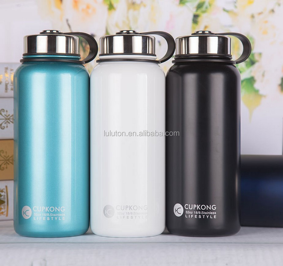 Insulated Stainless Steel 32 oz Water Bottle - Wide Mouth Bottles - Double Walled Vacuum Sport Bottle