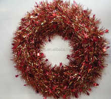 Christmas Star PET Tinsel Wreath for Indoor Outdoor Decoration