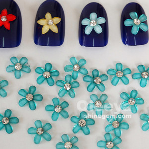 factory wholesale 10mm green color flower shape resin nail art 3d designs for DIY