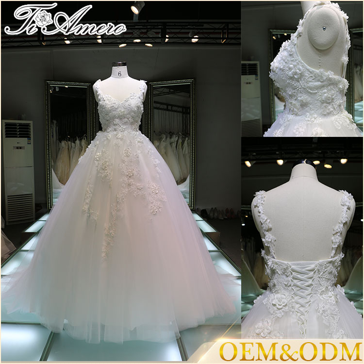2016 A line flower applique embroidered wedding dresses country style