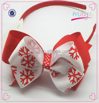 Fashion snow printing red Christmas headbands (approved by BV)