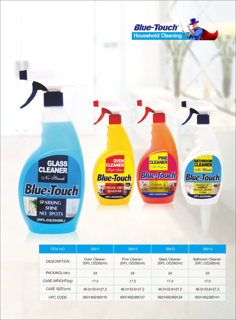 professional glass cleaner blue color no streak household cleaning