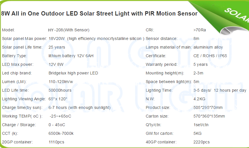 8W All in One Outdoor LED Solar Stree Light with PIR Motion Sensor