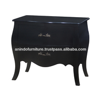 Black Painted Small Commode 2 Drawers