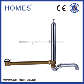 Brass bathtub pop up drainer with S drain pipe