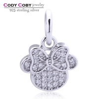 Clear CZ Pave Mickey Mouse Icon locket floating Charms 925 Sterling Silver Charm Fit Snake Chain Bracelet Female DIY Jewelry