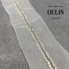Rhinestone chain lace trim sewing on mesh rhinestone chain lace trim sew on clothes rhinestone lace trim