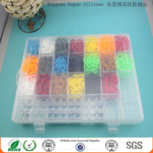 2014 crazy colorful loom bands kit/ plastic box kits cheap loom bands/ new designs colorful diy silicone loom bands