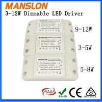 Manslon triac dimmable series (8-12)x1w high PF led driver 500ma constant current led power supply
