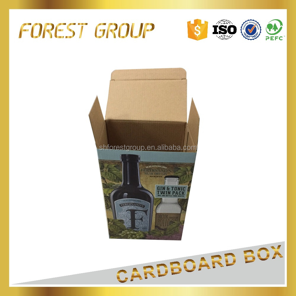 Custom printed cheap corrugated paper box for 4 bottle <strong>wine</strong>