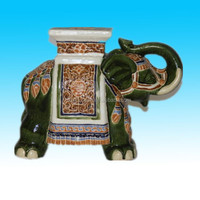 custom hand painted ceramic elephant stand